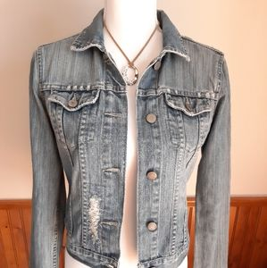 American Eagle Distressed Jean Jacket size Small